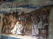 A mural at the monastery - depicts the Knights Templar